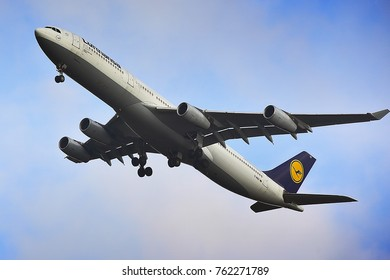FRANKFURT,GERMANY-NOVEMBER 06,2017:LUFTHANSA Airlines Airbus A340-300 lands at Frankfurt airport.