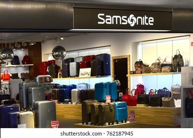 FRANKFURT,GERMANY-NOVEMBER 06,2017:Samsonite Frankfurt Airport Store.Retail chain selling name-brand luggage & travel gear, briefcases, duffles, backpacks & accessories.