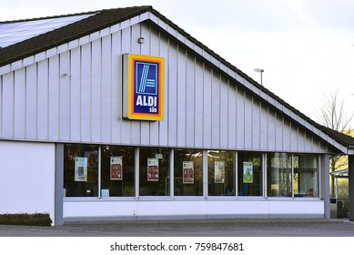 FRANKFURT,GERMANY-NOVEMBER 19,2017: ALDI supermarket.