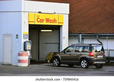 FRANKFURT,GERMANY-NOVEMBER 19,2017: SHELL CAR WASH.