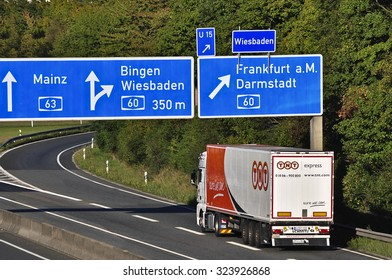 FRANKFURT,GERMANY-OCT 01:TNT delivery truck on the highway on October 01,2015 in Frankfurt,Germany.TNT is an international courier delivery services company with headquarters in Hoofddorp, Netherlands