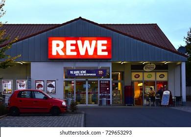 FRANKFURT,GERMANY-OCT 04:  REWE supermarket on October 04,2017 in Frankfurt,germany.