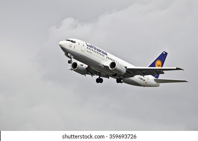 FRANKFURT,GERMANY-OCT 08:airplane of Lufthansa above the Frankfurt airport on October 08,2015 in Frankfurt,Germany.Lufthansa is a German airline and also the largest airline in Europe.