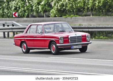 FRANKFURT,GERMANY-OCT 08:old MERCEDES BENZ car on the highway on October 08,2015 in Frankfurt,Germany.