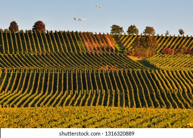 Frankfurt,Germany-October 01,2015: Lufthansa planes over the vineyard.