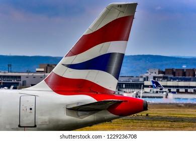 FRANKFURT,GERMANY-OCTOBER 25,2018: BRITISH AIRWAYS Airbus A319 on the runway.