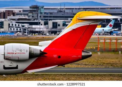 FRANKFURT,GERMANY-OCTOBER 25,2018: Iberia Regional (Air Nostrum) Bombardier CRJ-1000 on the runway.