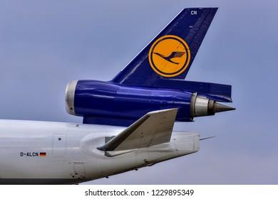 FRANKFURT,GERMANY-OCTOBER 25,2018: LUFTHANSA CARGO  MD-11 Freighter.