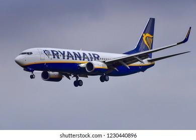 FRANKFURT,GERMANY-OCTOBER 25,2018: RYANAIR Airlines Boeing 737 flight.
