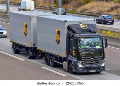 FRANKFURT,GERMANY-OCTOBER 25,2018: UPS truck on the A5.United Parcel Service is an American multinational package delivery and supply chain management company.