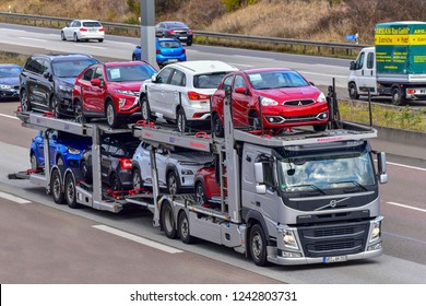 FRANKFURT,GERMANY-OCTOBER 25,2018: VOLVO transporter with MITSUBISHI cars on the route.