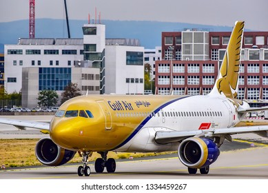 Frankfurt,Germany-October 25,2018:A9C-AN Gulf Air Airbus A320.Gulf Air is the flag carrier of Bahrain. Headquartered in Muharraq, adjacent to Bahrain International Airport.