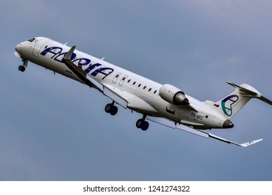 FRANKFURT,GERMANY-OCTOBER 25,2018:Adria Airways S5-AFC Bombardier CRJ-900ER.