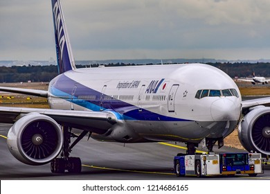 FRANKFURT,GERMANY-OCTOBER 25,2018:All Nippon Airways JA784A Boeing 777.
