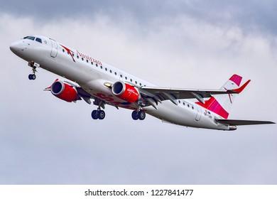 FRANKFURT,GERMANY-OCTOBER 25,2018:Austrian Airlines OE-LWP Embraer 190/195.