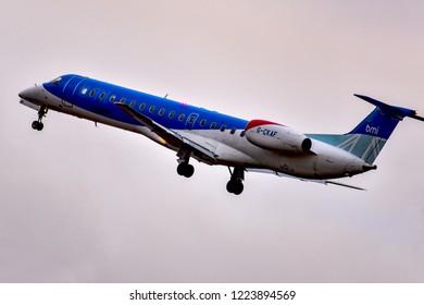 FRANKFURT,GERMANY-OCTOBER 25,2018:bmi Regional Embraer ERJ-145EP.British Midland Regional Limited and formerly branded as bmi regional, is a British regional airline.