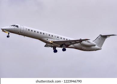 FRANKFURT,GERMANY-OCTOBER 25,2018:bmi Regional Embraer ERJ-145EU.British Midland Regional Limited and formerly branded as bmi regional, is a British regional airline.