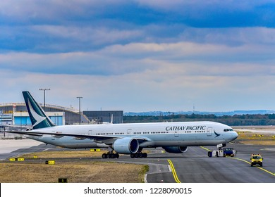 FRANKFURT,GERMANY-OCTOBER 25,2018:Cathay Pacific B-KPR Boeing 777 on the runway.Cathay Pacific Airways Limited is the flag carrier of Hong Kong.