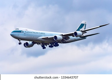 Frankfurt,Germany-October 25,2018:Cathay Pacific Cargo B-LJE Boeing 747.Cathay Pacific or just simply Cathay, is the flag carrier of Hong Kong.
