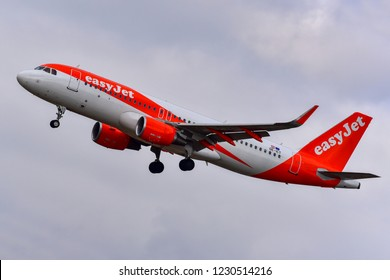 FRANKFURT,GERMANY-OCTOBER 25,2018:EasyJet Europe OE-ICT Airbus A320 flight.EasyJet Europe Airline GmbH, styled as easyJet, is a low-cost airline based in Vienna, Austria,
