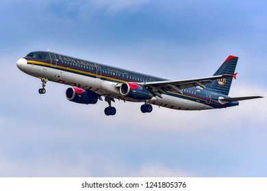 FRANKFURT,GERMANY-OCTOBER 25,2018:ROYAL JORDANIAN Airbus A321.Royal Jordanian Airlines is the flag carrier airline of Jordan with its head office in Amman, Jordan.