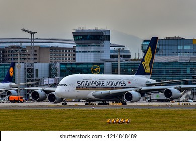 FRANKFURT,GERMANY-OCTOBER 25,2018:SINGAPORE AIRLINES Airbus A380.