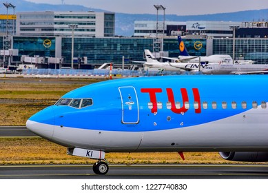 FRANKFURT,GERMANY-OCTOBER 25,2018:TUI fly Airlines Boeing 737-800 on the runway.TUIfly, is a German leisure airline owned by the travel and tourism company TUI Group.