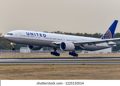 FRANKFURT,GERMANY-OCTOBER 26,2018:United Airlines N2747U Boeing 777.United Airlines, Inc., commonly referred to as United, is a major United States airline headquartered in Chicago, Illinois.