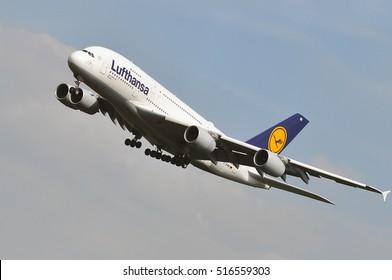 FRANKFURT,GERMANY-SEPT 01: Lufthansa Airbus A380-800 lands at Frankfurt airport on September 01,2016 in Frankfurt,Germany.Lufthansa is a German airline and also the largest airline in Europe.