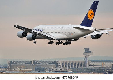 FRANKFURT,GERMANY-SEPT 01:Airbus A380-800 from New York  of LUFTHANSA  over Frankfurt airport on September 01,2016 in Frankfurt,Germany.