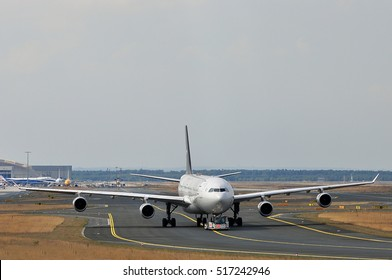 FRANKFURT,GERMANY-SEPT 01:LUFTHANSA aircraft in the Frankfurt airport on September 01,2016 in Frankfurt,Germany.Lufthansa is a German airline and largest airline in Europe.