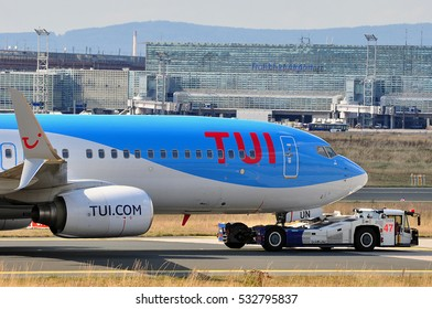FRANKFURT,GERMANY-SEPT 01:TUIfly Boeing 737-800 in the Frankfurt airport on September 01,2016 in Frankfurt,Germany.TUIfly is a German leisure airline owned by the travel and tourism company TUI Group.