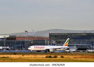 FRANKFURT,GERMANY-SEPT 04:airplane of Ethiopian Airlines  in the Frankfurt airport on September 04,2015 in Frankfurt,Germany.Ethiopian Airlines is the national airline of Ethiopia.