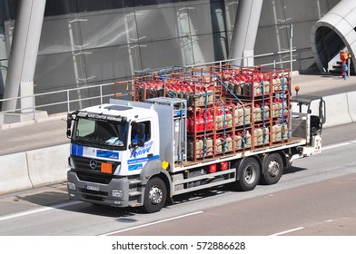 FRANKFURT,GERMANY-SEPT 08: truck on the route on September 08,2016 in Frankfurt,Germany.