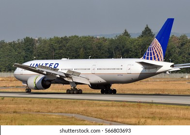 FRANKFURT,GERMANY-SEPT 08: United Airlines Boeing 777-222 approaching airport on September 08,2016 in Frankfurt,Germany.United Airlines is a major American airline carrier headquartered in Chicago.