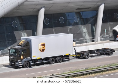 FRANKFURT,GERMANY-SEPT 08: UPS truck on the route on September 08,2016 in Frankfurt,Germany.