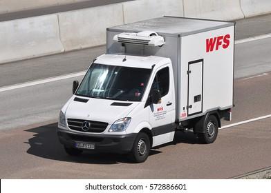 FRANKFURT,GERMANY-SEPT 08: van on the route on September 08,2016 in Frankfurt,Germany.