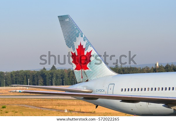 FRANKFURT,GERMANY-SEPT 08:AIR CANADA Boeing 767 lands at airport on September 08,2016 in Frankfurt,Germany.Air Canada is the flag carrier and largest airline of Canada.