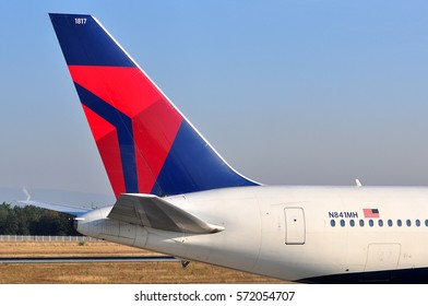 FRANKFURT,GERMANY-SEPT 08:Delta Air Lines Boeing 767  lands at airport on September 08,2016 in Frankfurt,Germany.Delta Air Lines, Inc. is a major American airline in Atlanta, Georgia.