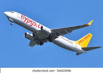 FRANKFURT,GERMANY-SEPT 08:PEGASUS Boeing 737-800 approaching airport on September 08,2016 in Frankfurt,Germany.Pegasus Airlines is a Turkish low-cost airline.