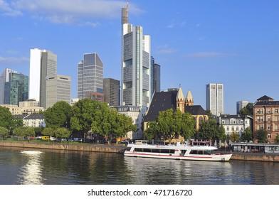 FRANKFURT,GERMANY-SEPT 11:Frankfurt's Skyline by Main River on September 11,2015 in Frankfurt,Germany. Frankfurt is the financial center of Germany. Frankfurt is the financial center of Germany.