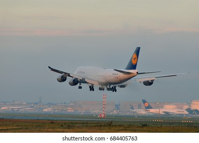 FRANKFURT,GERMANY-SEPT 24: LUFTHANSA Boeing 747-8 lands at Frankfurt airport on September 24,2015 in Frankfurt,Germany.