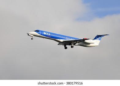 FRANKFURT,GERMANY-SEPT 24:airplane of BMI Regional above the Frankfurt airport on September 24,2015 in Frankfurt,Germany.BMI - is a British regional airline.