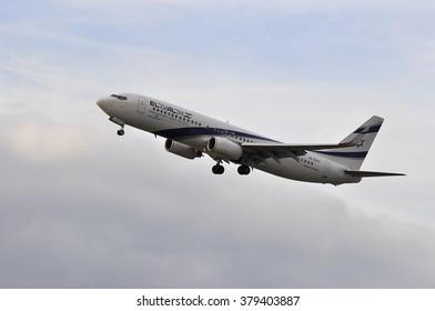 FRANKFURT,GERMANY-SEPT 24:airplane of Israel Airlines above the Frankfurt airport on September 24,2015 in Frankfurt,Germany.El Al Israel Airlines Ltd, trading as El Al, is the flag carrier of Israel.