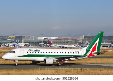 FRANKFURT,GERMANY-SEPT 29:Alitalia airlines aircraft on the runway on September 29,2016 in Frankfurt,Germany.Alitalia is the flag carrier and national airline of Italy.