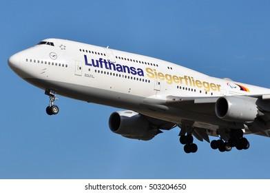 FRANKFURT,GERMANY-SEPT 29:Boeing 747-8 of Lufthansa lands at Frankfurt airport on September 29,2016 in Frankfurt,Germany.Lufthansa is a German airline and also the largest airline in Europe.