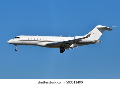FRANKFURT,GERMANY-SEPT 29:Gama Aviation Bombardier Global Express-BD-700-1A10  on September 29,2016 in Frankfurt,Germany.Gama Aviation is an executive air charter company in the United Kingdom.