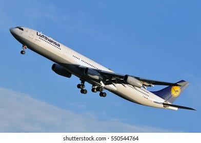 FRANKFURT,GERMANY-SEPT 29:LUFTHANSA Airbus A340-300 lands at Frankfurt airport on September 29,2016 in Frankfurt,Germany.Lufthansa is a German airline and largest airline in Europe.