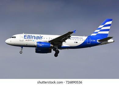 FRANKFURT,GERMANY-SEPT 30: Ellinair Airbus A319  lands at airport on September 30,2017 in Frankfurt,Germany.Ellinair is a Greek airline.