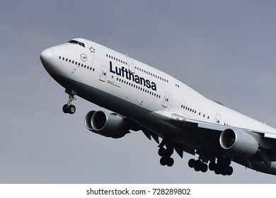 FRANKFURT,GERMANY-SEPT 30: LUFTHANSA Airlines Boeing 747 lands at Frankfurt airport onSeptember 30,2017 in Frankfurt,Germany.
